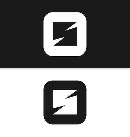 version: letter S icon design template. Black and white version