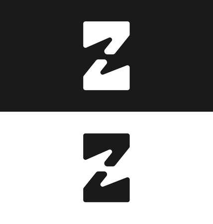 article marketing: letter Z icon design template Black and white version