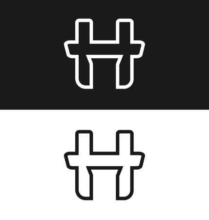 article marketing: Letter H icon design template Black and white version