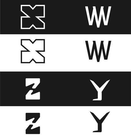 article marketing: Vector abstract template set. Letter x, w, z, y