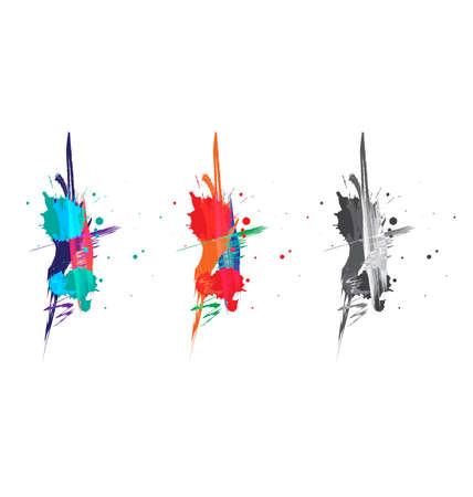 Vector watercolor paint splash set