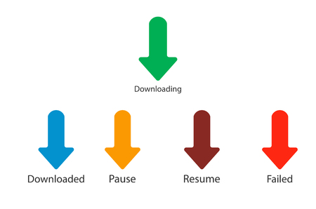 Downloading, download, pause, resume icons