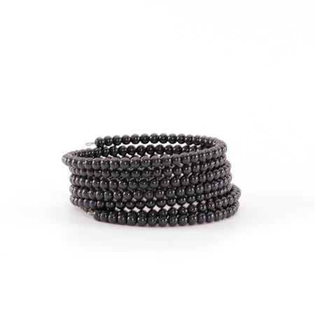cuff bracelet: Black Beaded Bangles
