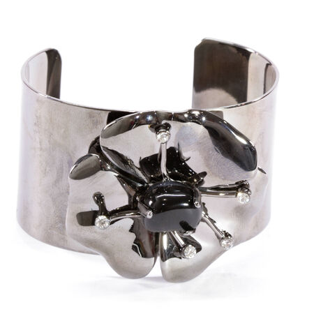 gunmetal: Gunmetal Rose Bangle with Crystals
