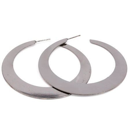 gunmetal: Gunmetal Flat Hoop Earrings Stock Photo