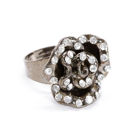 gunmetal: Gunmetal and Crystal Rose Ring
