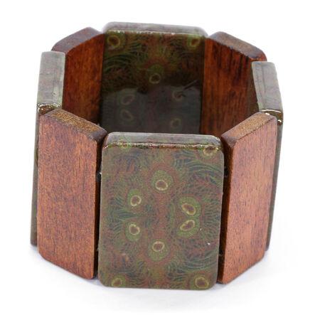 cuff bracelet: Peacock Panel Wood Bangle