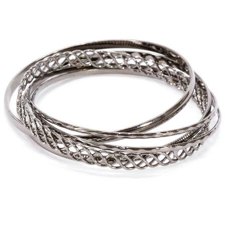 gunmetal: Gunmetal Twisted Bangles