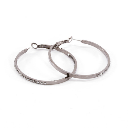 gunmetal: Small Gunmetal Crystal Hoop Earrings