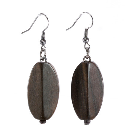 gunmetal: Wooden Hook Earrings Stock Photo