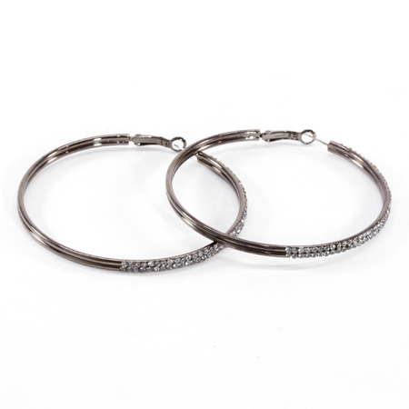gunmetal: Gunmetal Crystal Hoop Earrings