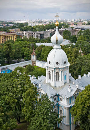 st  petersburg: Tower of Smolny Cathedral in St. Petersburg