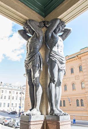telamon: Saint Petersburg, Russia - August 12, 2015: Atlantes of New Hermitage Museum Editorial