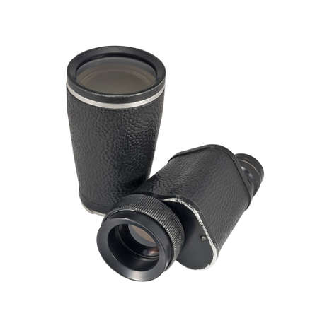 monocular: Old monocular with additional lens isolated on white background