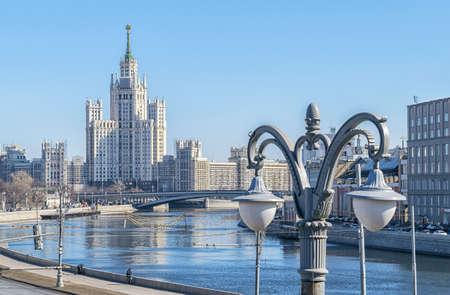 kotelnicheskaya embankment: Moscow, Russia - March 27, 2016: Reconstruction of high-rise building on Kotelnicheskaya embankment. Editorial