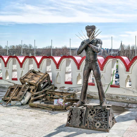 blockbuster: Moscow, Russia - April 24, 2016: Wolverine statue from X-Men blockbuster at Izmailovo Kremlin.