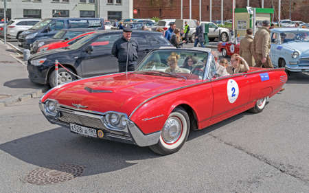 thunderbird: Moscow, Russia - April 24, 2016: Retro cars rally named after « Ingosstrakh Exclusive Classic Day». Ford Thunderbird.