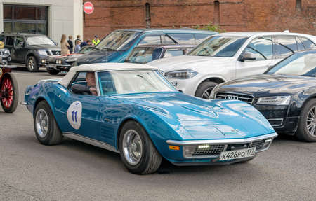 corvette: Moscow, Russia - April 24, 2016: Retro cars rally named after Ingosstrakh Exclusive Classic Day. Chevrolet Corvette C3 Stingray.