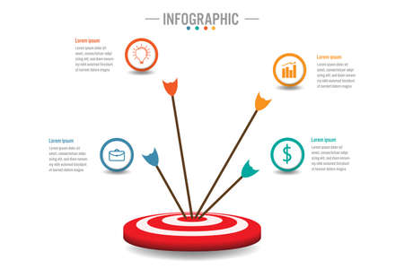 Business infographic template with 4 options to target, Abstract elements diagram or processes and business flat icon, Vector business template for presentation.Creative concept for infographic. Ilustração
