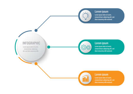 Business infographic template with 3 options circular shape, Abstract elements diagram or processes and business flat icon, Vector business template for presentation.Creative concept for infographic. Vektoros illusztráció