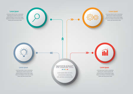 Business infographic template with 4 options circular shape, Abstract elements diagram or processes and business flat icon, Vector business template for presentation.Creative concept for infographic.