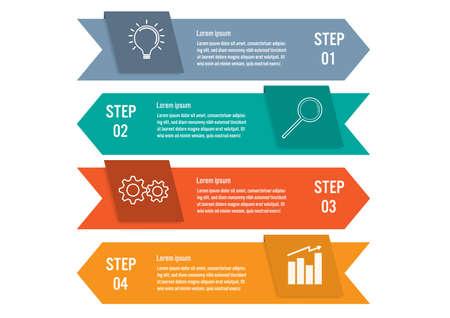 Business-Infografik-Vorlage mit 4 Optionen, abstraktes Elementdiagramm oder Prozesse und Business-Flachsymbol, Vektor-Business-Vorlage für die Präsentation. Kreatives Konzept für Infografik.