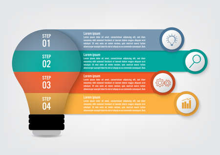 Business infographic template with 4 options, Abstract elements diagram or processes and business flat icon, Vector business template for presentation.Creative concept for infographic.