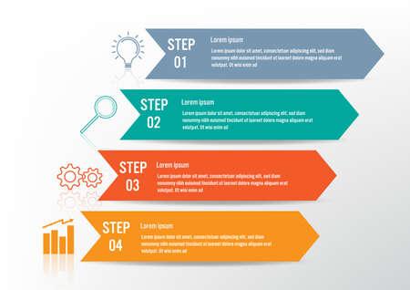 Plantilla de infografía empresarial con 4 opciones, diagrama de elementos abstractos o procesos e icono plano empresarial, plantilla de negocio vectorial para presentación.