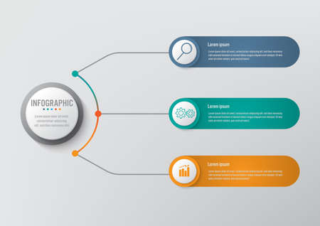 Business infographic template with 3 options circular shape, Abstract elements diagram or processes and business flat icon, Vector business template for presentation.Creative concept for infographic.