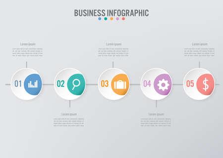 Modello di infografica aziendale con 5 opzioni, diagramma di elementi astratti o processi e icona piana di affari, modello di affari di vettore per la presentazione. Concetto creativo per infografica.