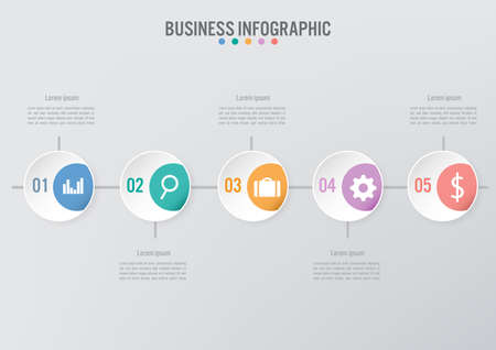 Plantilla de infografía empresarial con 5 opciones, diagrama de elementos abstractos o procesos e icono plano empresarial, plantilla de negocio vectorial para presentación. Concepto creativo para infografía.