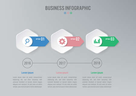 Business infographic template with 3 options, Abstract elements diagram or processes and business flat icon, Vector business template for presentation.Creative concept for infographic.