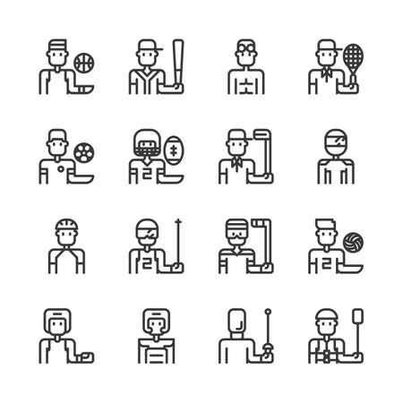 Sport avatar icon set.Vector illustration