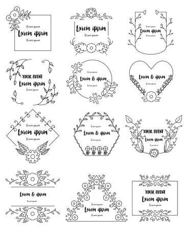 Hand drawn floral frames set for branding