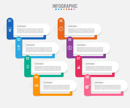Business infographic labels template with 8 options.Creative concept for infographic.