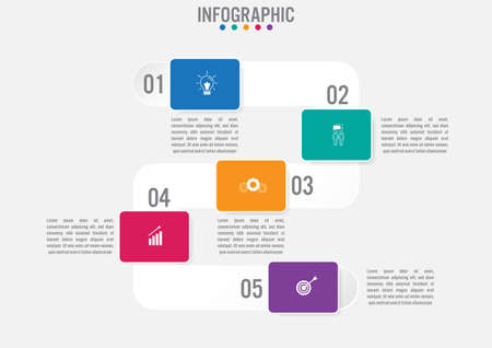 Biznesowy szablon infografiki z opcjami prostokątnego kształtu