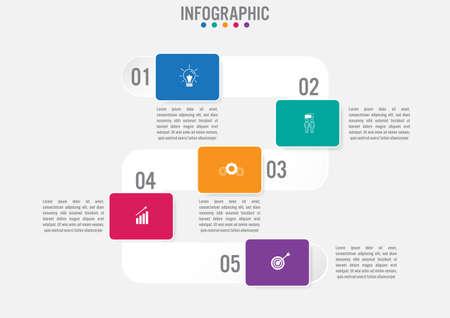 Zakelijke infographic sjabloon met rechthoekige vormopties