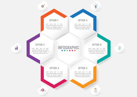 Business infographic template with 6 options hexagonal shape,Creative concept for infographic. Stok Fotoğraf