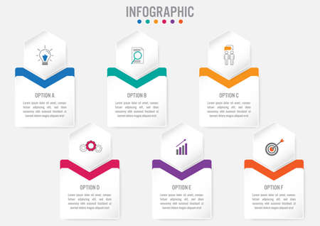 Business infographic template with 6 options hexagonal shape,Creative concept for infographic.