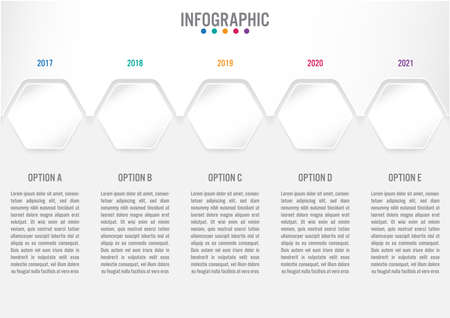 Business infographic template with 5 options hexagonal shape