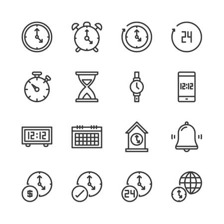 Time and clock in outline icon set.Vector illustration