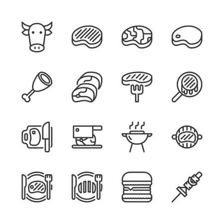 Beef related icon set. Vector illustration