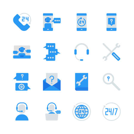Call center and support in flat icon set.Vector illustration