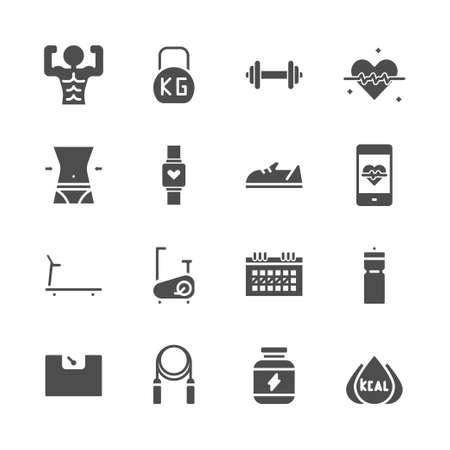 Fitness relacionado en conjunto de iconos de glifo.Ilustración de vector