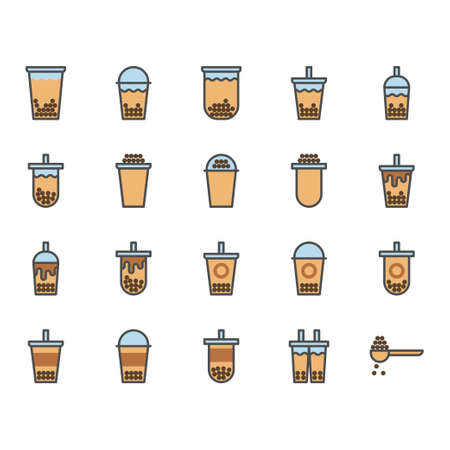 Bubble milk tea in colorline icon set.Vector illustration