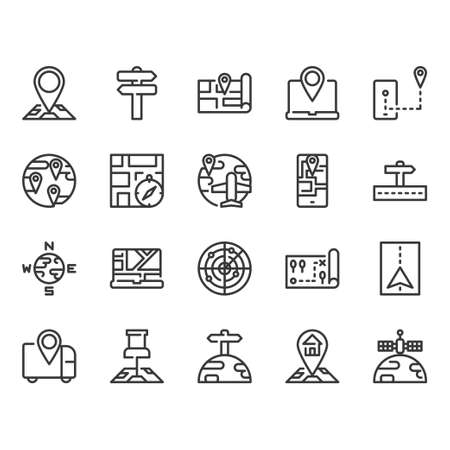 Map and  navigation icon set. Vector illustration