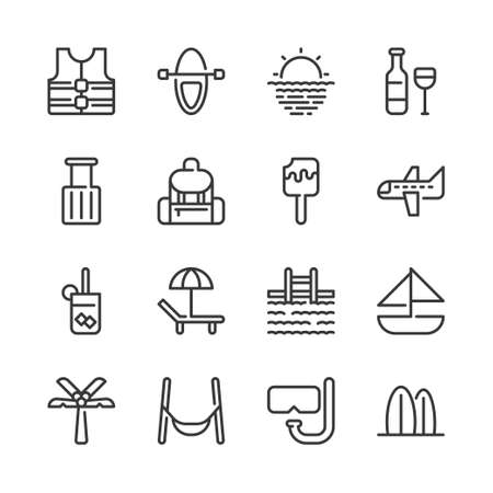 Summer and vacation icon set.Vector illustration Illustration