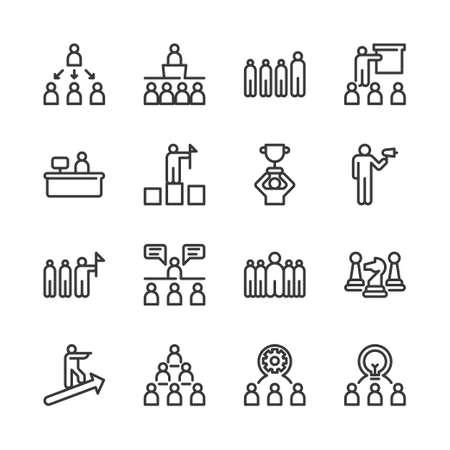 Business leadership icon set.Vector illustration