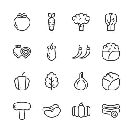 Vegetable simple outline icon set.Vector illustration Stock Illustratie