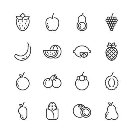 Fruits simple outline icon set.Vector illustration Иллюстрация